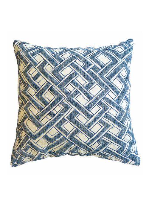 Shoowa Applique Viscose-Cotton Cushion Cover  - 18in x 18in