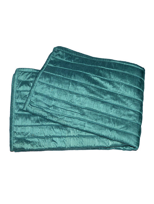 Cerulean Quilted Polyester-Viscose Bed Sash - 90in x 30in