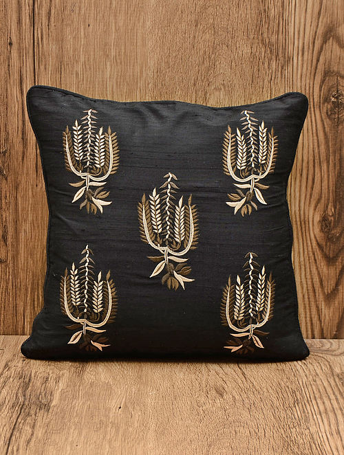 Black Silk Paisley Embroidered Cushion Cover 16.5in x 16.5in