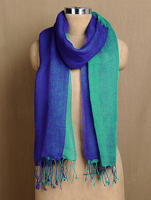 Blue-Turquoise Linen Two Layered Handwoven Stole