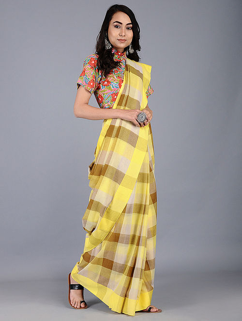Yellow Cotton Handwoven Saree