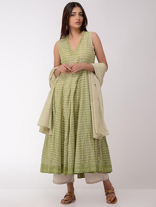 Green Block-printed Cotton Kurta