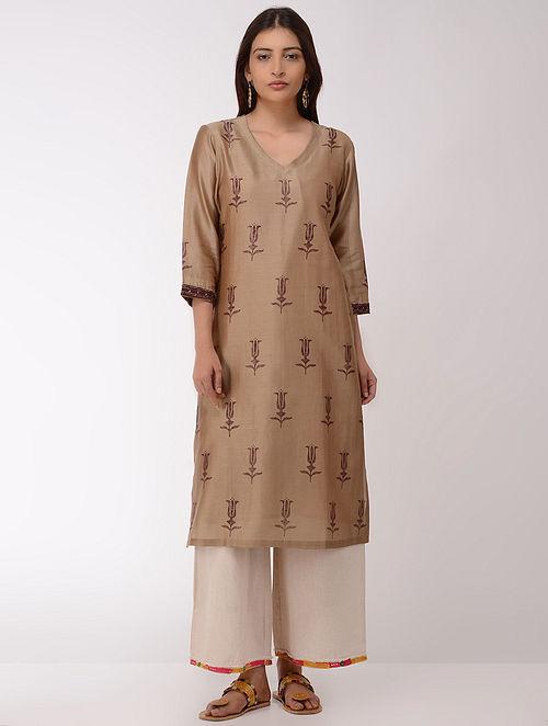 Brown Block-printed Chanderi Kurta with Slip (Set of 2)