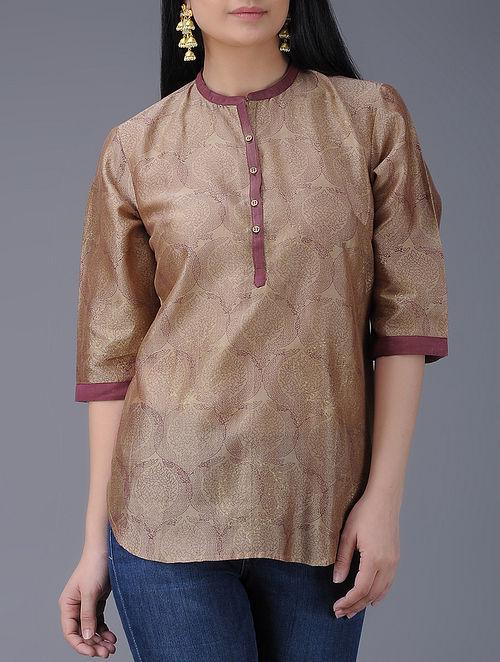 Brown Block-printed Chanderi Top