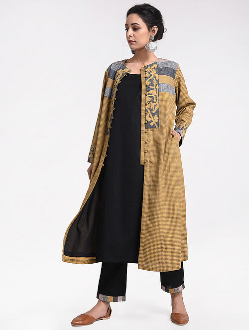 aa973fa1296 Buy Mustard Block-printed Cotton Jacket With Applique   Patch Work ...