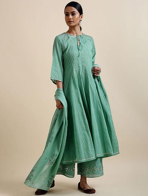 Aqua Green Printed Cotton Anarkali with Sequins