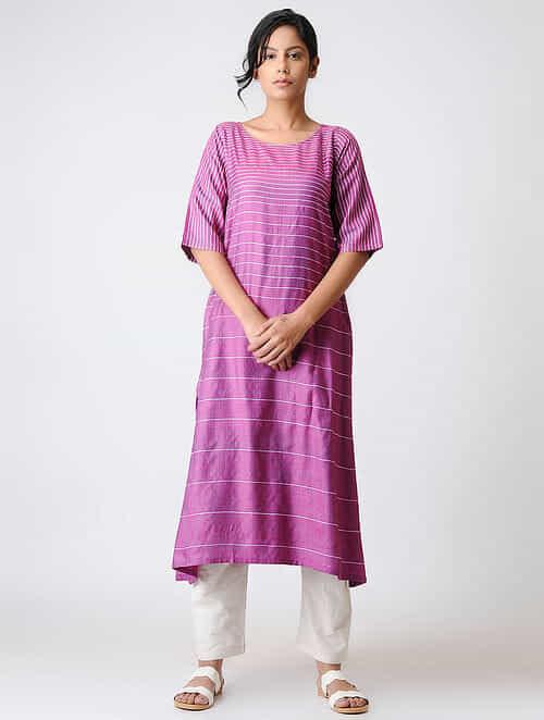 Magenta Silk Kurta with Kantha Embroidery