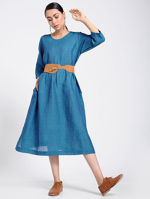 6d31fcecd5 Buy Blue Linen Dress with Pintucks Online at Jaypore.com