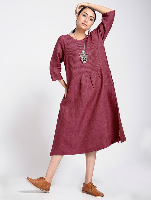 37d2f46ef3 Buy Maroon Linen Dress with Pintucks Online at Jaypore.com
