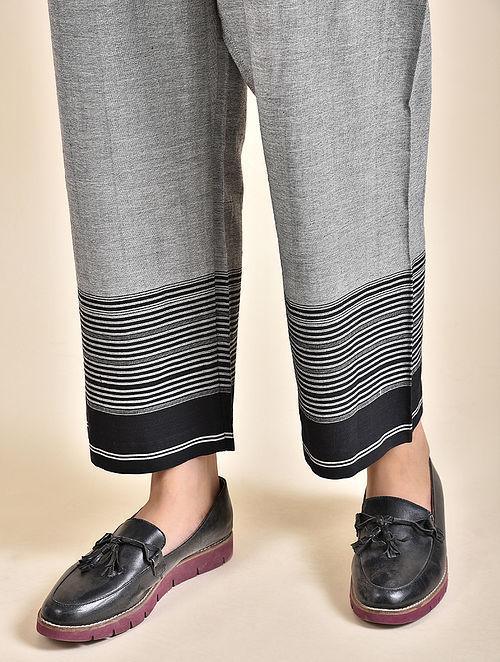 Grey Cotton Pants with Bhujodi Weave