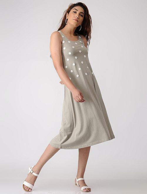 Beige Applique Cotton Dress