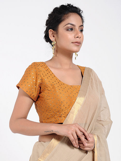 62a63c55e4c69 Buy Mustard Cotton Silk Blouse with Sequins-work Online at Jaypore ...