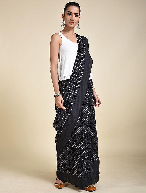 Black-Ivory Bandhani Silk Saree