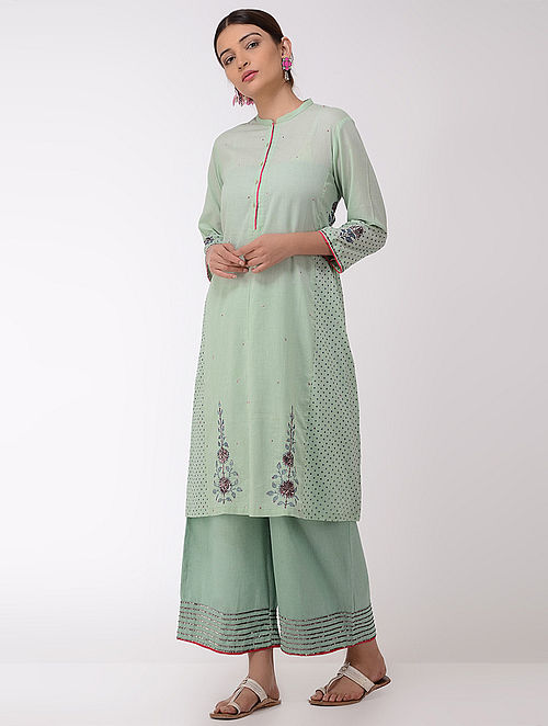 Green Block-printed Cotton Kurta with Sequins
