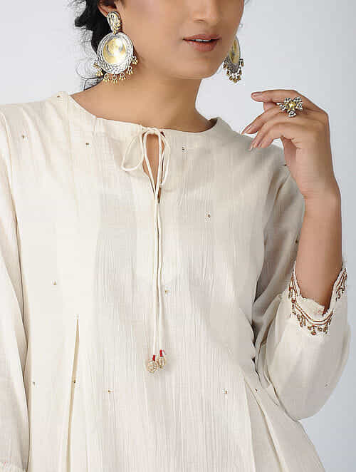 Ivory Pleated Cotton Kurta with Sequin and Nakshi Work