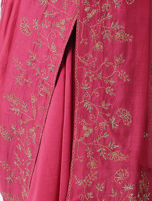 e052bf716b8ec Buy Pink Hand-embroidered Silk Cotton Saree Online at Jaypore.com