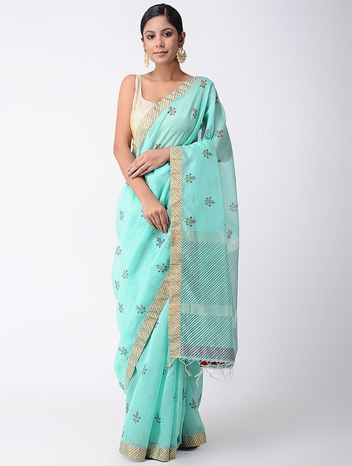 aa90c85e21a3b Buy Blue Block-printed Silk Cotton Saree with Zari and Sequins-work ...