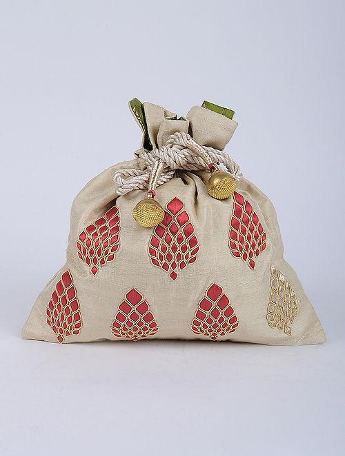 Beige Red Handcrafted Raw Silk Potli
