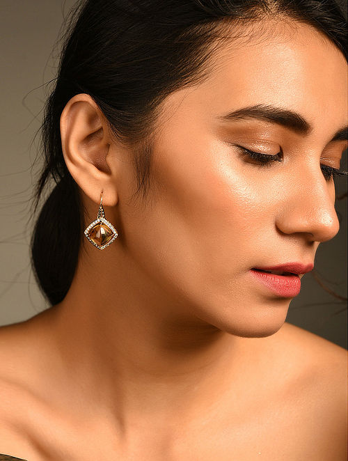 Gold and Diamond Earrings with Honey Quartz
