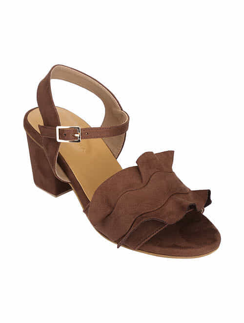 Brown Handcrafted Block Heel Sandals