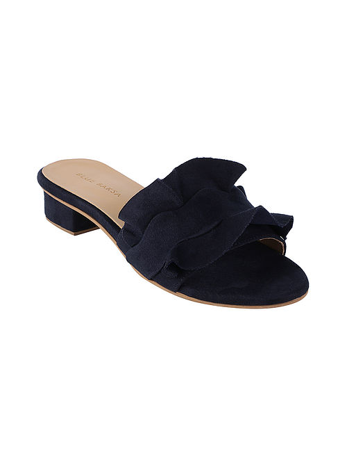 Navy Blue Handcrafted Box Heels