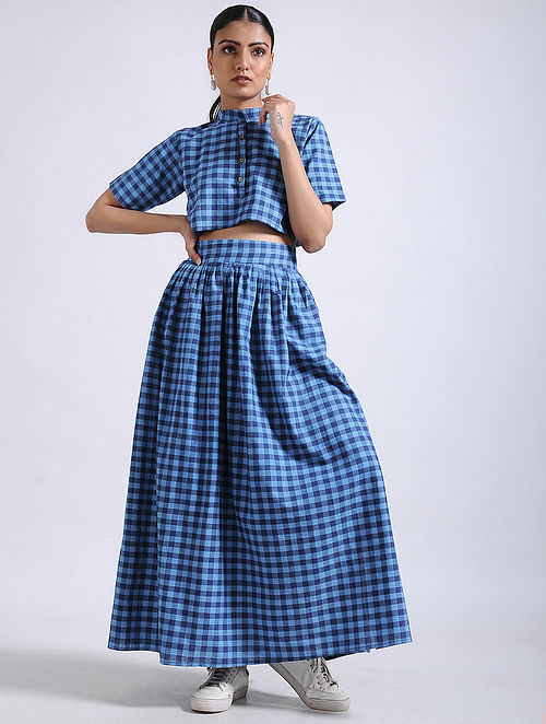 2c0780634d Buy Blue Checkered Handwoven Cotton Crop Top with Skirt (Set of 2 ...