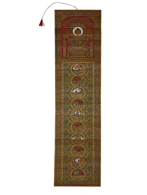 Buddha Engraved Pattachitra Artwork on Palm Leaf (40in x 10in)