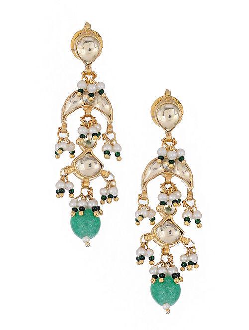 Green Kundan Inspired Gold Tone Brass Earrings