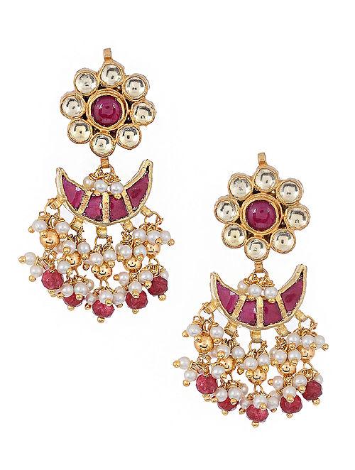 Pink Kundan Inspired Gold Tone Brass Earrings