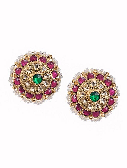 Pink Green Kundan Inspired Gold Tone Brass Earrings