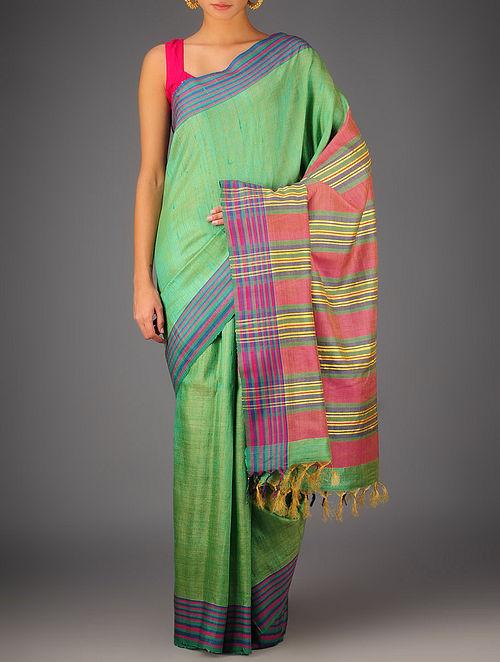 Green-Multi-Color Tussar Dupion Silk Handwoven Saree