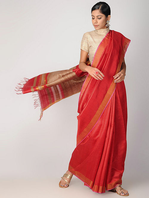 689556ba59f32 Red Tussar Silk Saree with Zari Woven Sarees