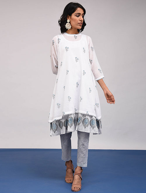 BHARANI - White-Blue Block Printed Cotton Kurta with Slip