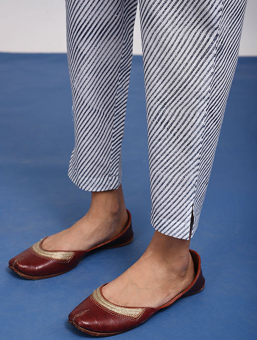 White-Blue Elasticated-Waist Block Printed Cotton Pants