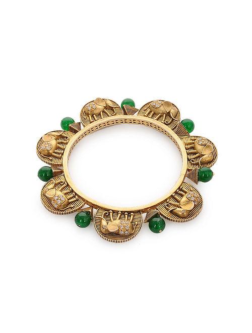 Green Gold Plated Silver Bangle (Bangle Size: 2/4)