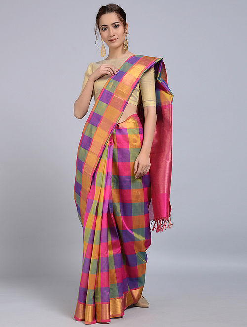 c483c1662 Buy Multicolored Cotton Silk Saree with Zari Online at Jaypore.com
