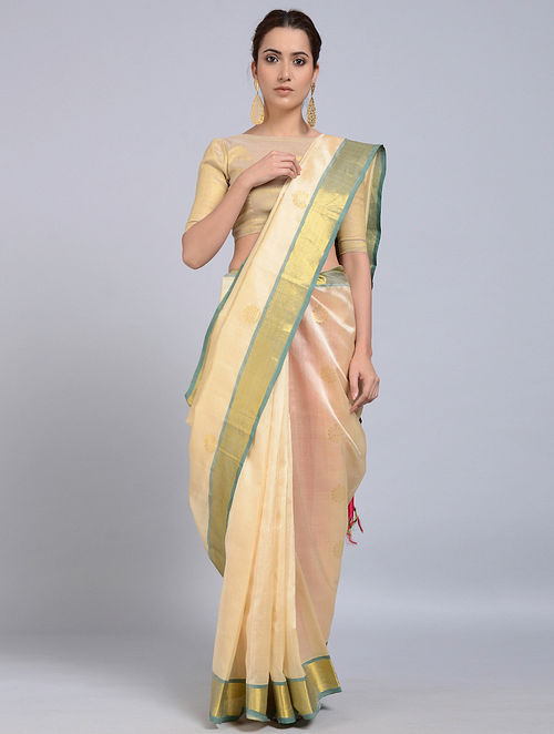 5e7daf5458 Buy Ivory-Pink Cotton Silk Saree with Zari Online at Jaypore.com