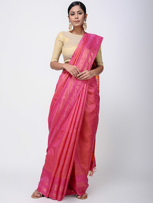 a3cff0d5ca386e Buy Pink-Yellow Tussar Ghicha Silk Saree Online at Jaypore.com