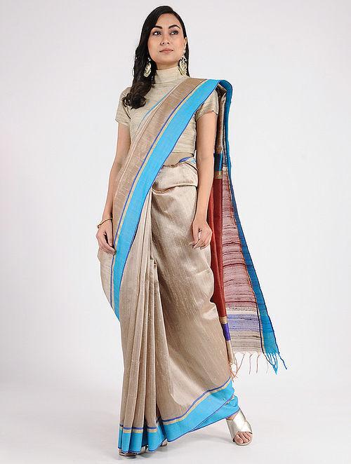 da0b4c4900 Buy Beige-Red Tussar Silk Saree with Zari Online at Jaypore.com