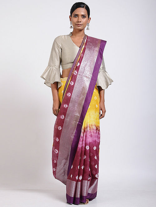 95e4f40e31 Buy Yellow-Purple Tie-dyed Linen Saree Online at Jaypore.com