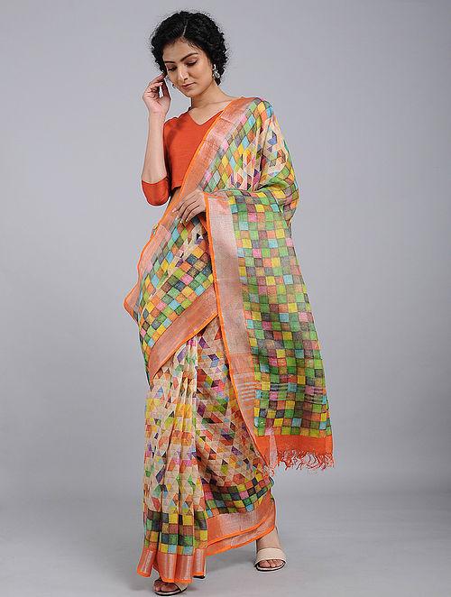 Green-Orange Printed Linen Jamdani Saree with Zari
