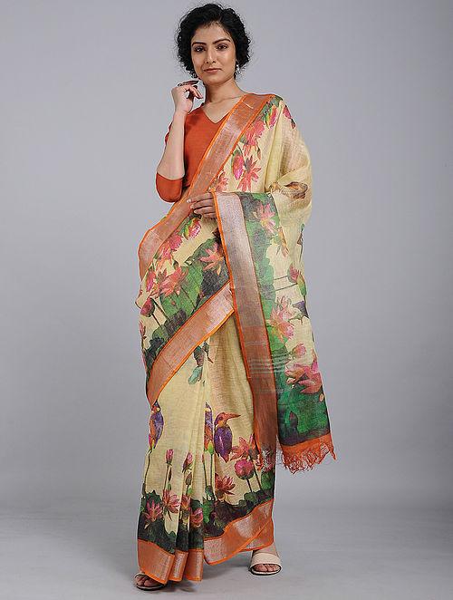 Yellow-Green Printed Linen Saree with Zari