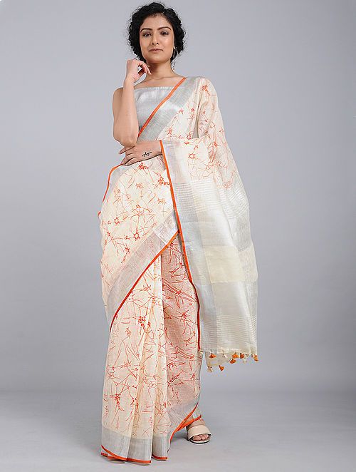 Ivory-Red Printed Linen Saree with Tassels