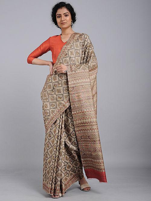 Ivory-Red Printed Tussar Silk Saree