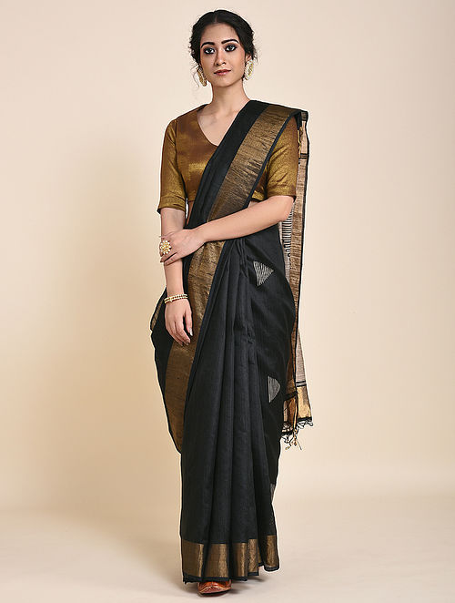 Black-Ivory Handloom Tussar Silk Saree with Zari