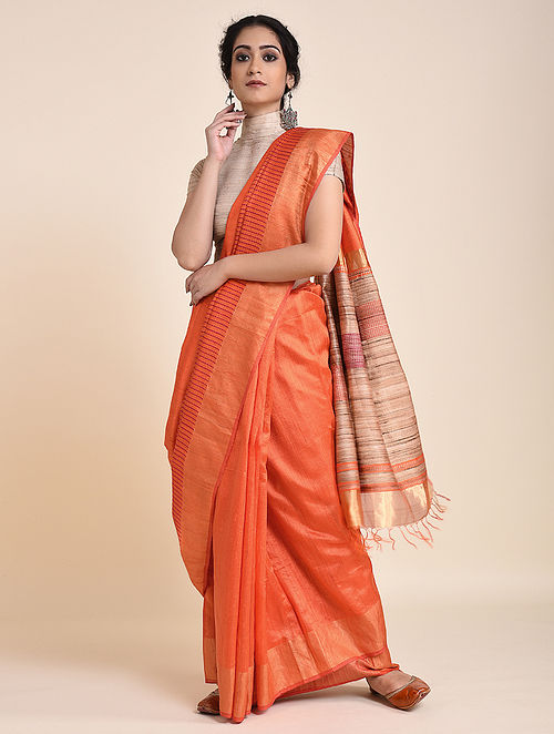 Orange Handloom Tussar Silk Saree