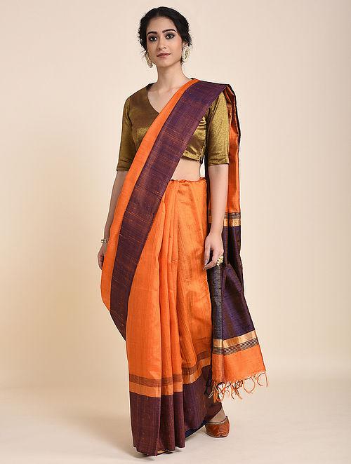 Orange-Purple Handloom Tussar Silk Saree