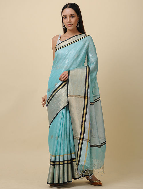 Blue Linen Saree with Zari