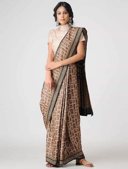 Beige Black Block Printed And Tanka Embroidered Tussar Silk Saree
