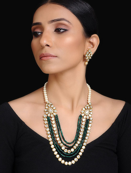 Green Gold Tone Kundan Inspired Layered Necklace With A Pair Of Earrings(Set of 2)